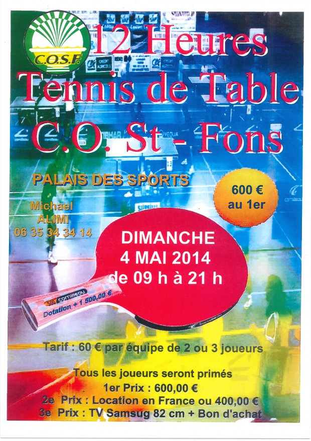 12 heures de tennis de table de saint fons astt lyon 6 for Tennis de table lyon 6